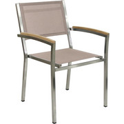 STAPELSESSEL - Edelstahlfarben/Braun, Design, Holz/Textil (58/88/60cm)