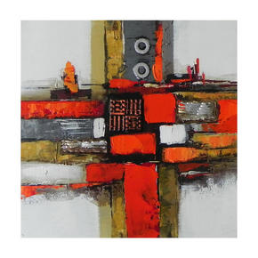 OLJEMÅLNING - röd/grå, Design, metall/trä (55/55cm) - Monee