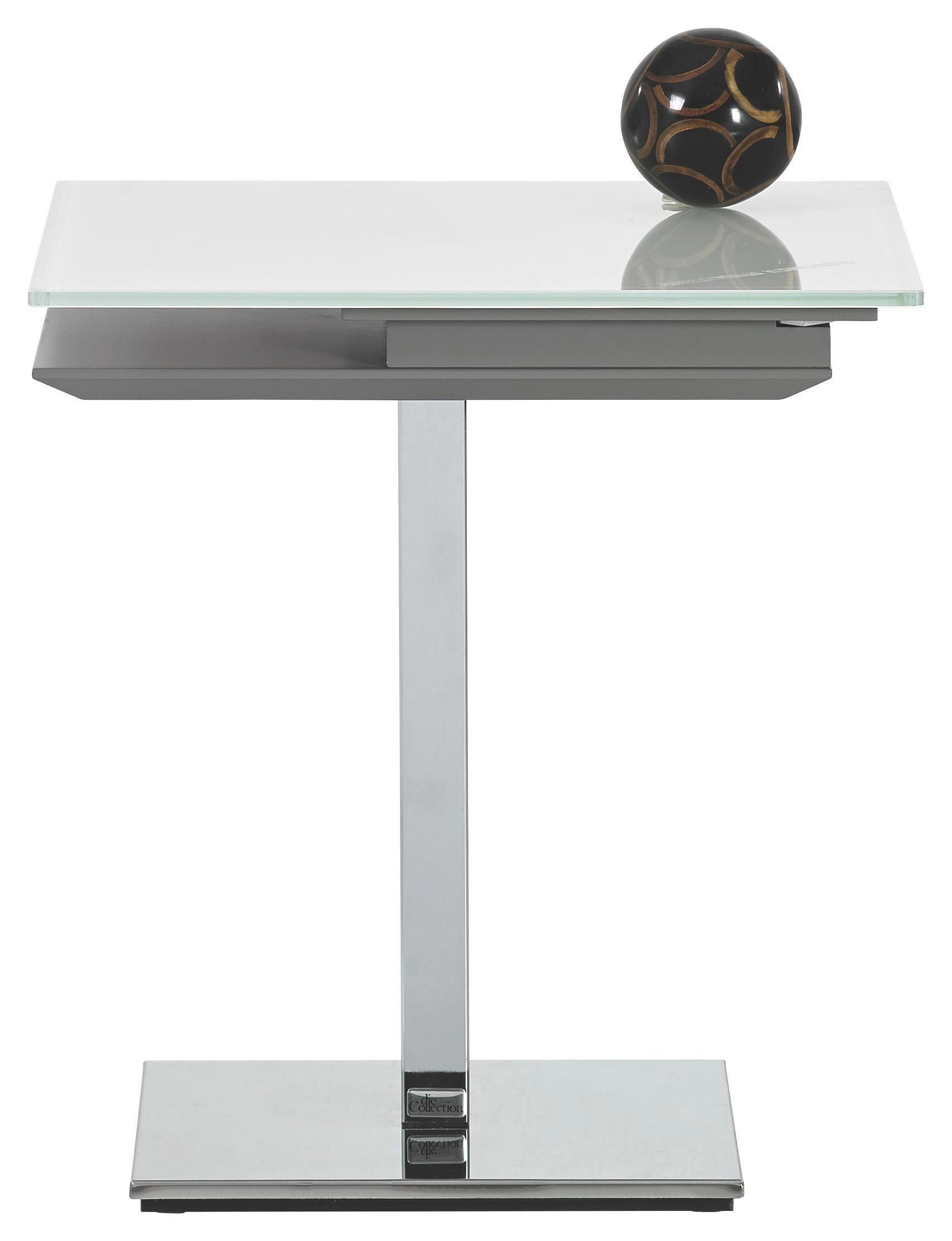 BEISTELLTISCH in Chromfarben, Taupe, Weiß - Taupe/Chromfarben, MODERN, Glas/Holzwerkstoff (50/55/50cm)