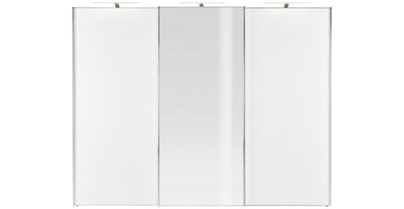 SCHWEBETÜRENSCHRANK in Weiß  - Chromfarben/Weiß, KONVENTIONELL, Glas/Holzwerkstoff (280/222/68cm) - Moderano