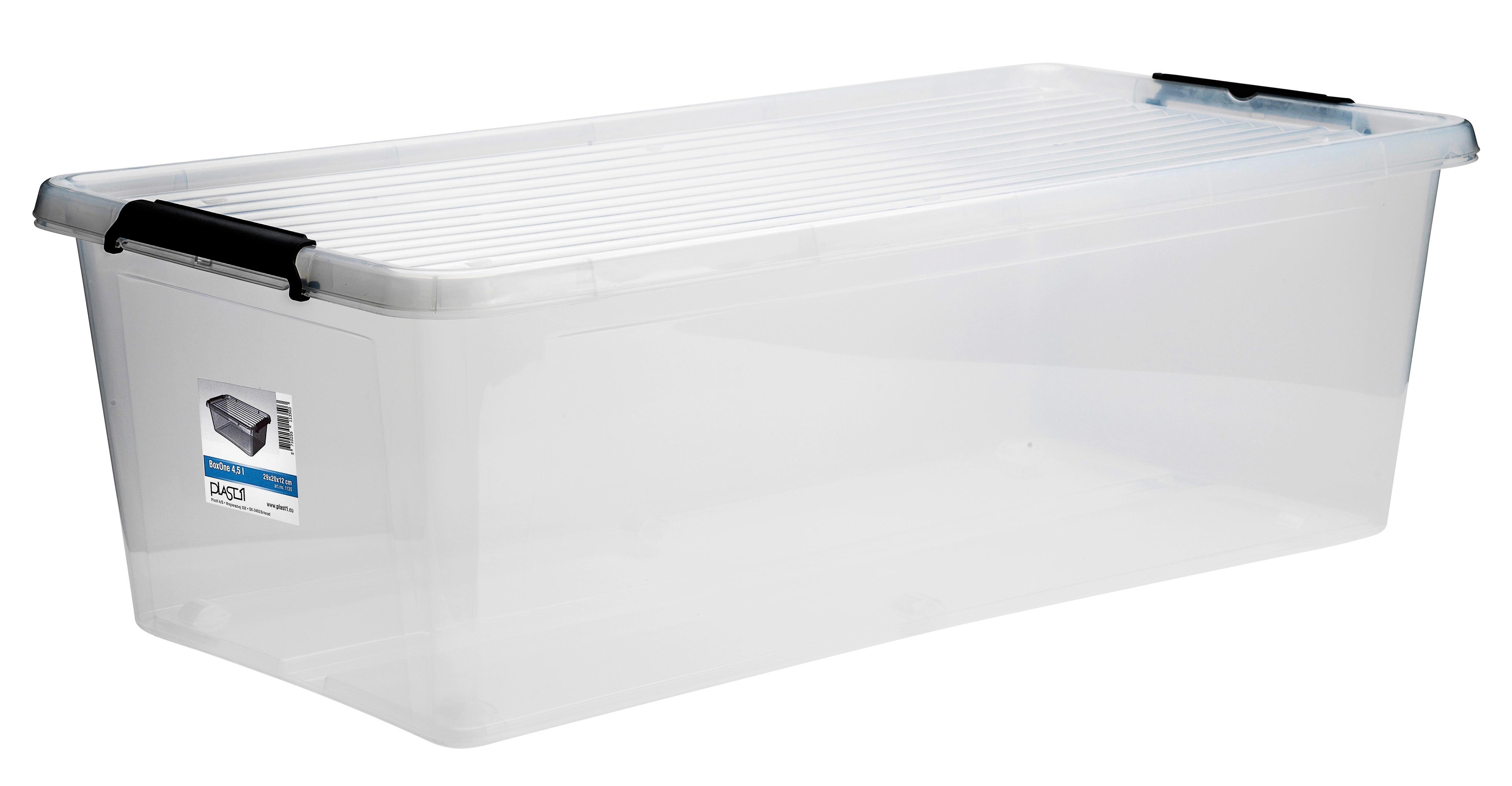 BOX MIT DECKEL - Transparent, Basics, Kunststoff (75,0l)