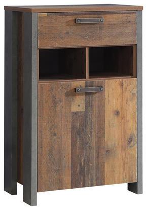 SKOSKÅP - mörkgrå/brun, Trend, träbaserade material/plast (67/108,1/41,6cm) - Carryhome