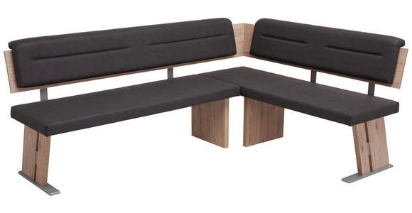 ECKBANK 155/205 cm  in Eichefarben, Edelstahlfarben, Dunkelgrau  - Edelstahlfarben/Eichefarben, KONVENTIONELL, Holzwerkstoff/Textil (155/205cm) - Cantus