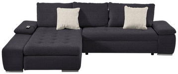 WOHNLANDSCHAFT in Anthrazit, Beige Textil - Chromfarben/Anthrazit, Design, Kunststoff/Textil (200/300cm) - Hom`in
