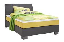 BOXSPRINGBETT 140 cm   x 200 cm   in Textil Anthrazit, Gelb - Chromfarben/Anthrazit, Design, Kunststoff/Textil (140/200cm) - Hom`in