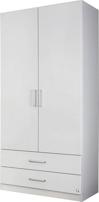 DREHTÜRENSCHRANK Weiß - Silberfarben/Weiß, Design, Holzwerkstoff/Kunststoff (91/197/54cm) - Carryhome