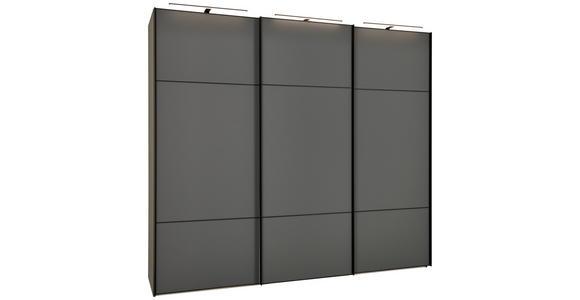 SCHWEBETÜRENSCHRANK in Grau  - Schwarz/Grau, Design, Glas/Holzwerkstoff (249/222/68cm) - Moderano