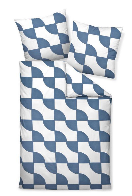 BETTWÄSCHE Makosatin Blau, Weiß 155/220 cm - Blau/Weiß, Basics, Textil (155/220cm) - Janine