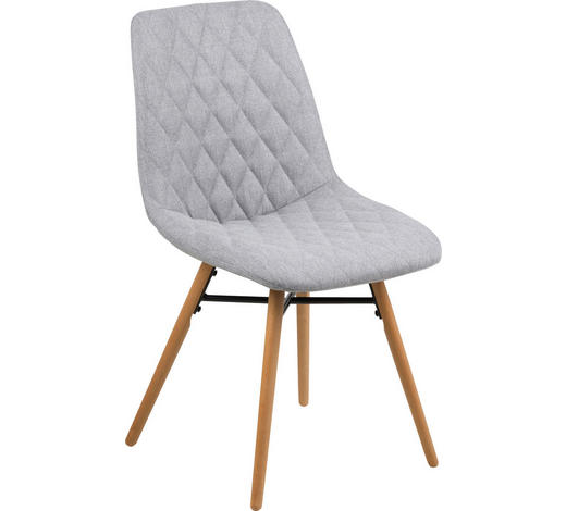 STUHL in Textil Hellgrau - Buchefarben/Hellgrau, Design, Holz/Textil (46/85/57cm) - Carryhome