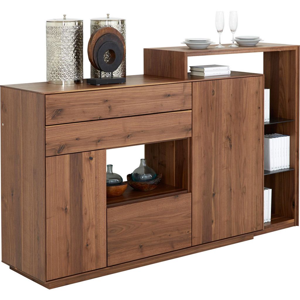 Highboard In Massiv Astnuss Grau, Nussbaumfarben
