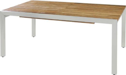 GARTENTISCH 170(280)/90/75 cm - Edelstahlfarben/Teakfarben, Design, Holz/Metall (170(280)/90/75cm)