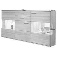 SIDEBOARD 174/105/40 cm - Silberfarben/Buchefarben, KONVENTIONELL, Glas/Holz (174/105/40cm) - Voleo