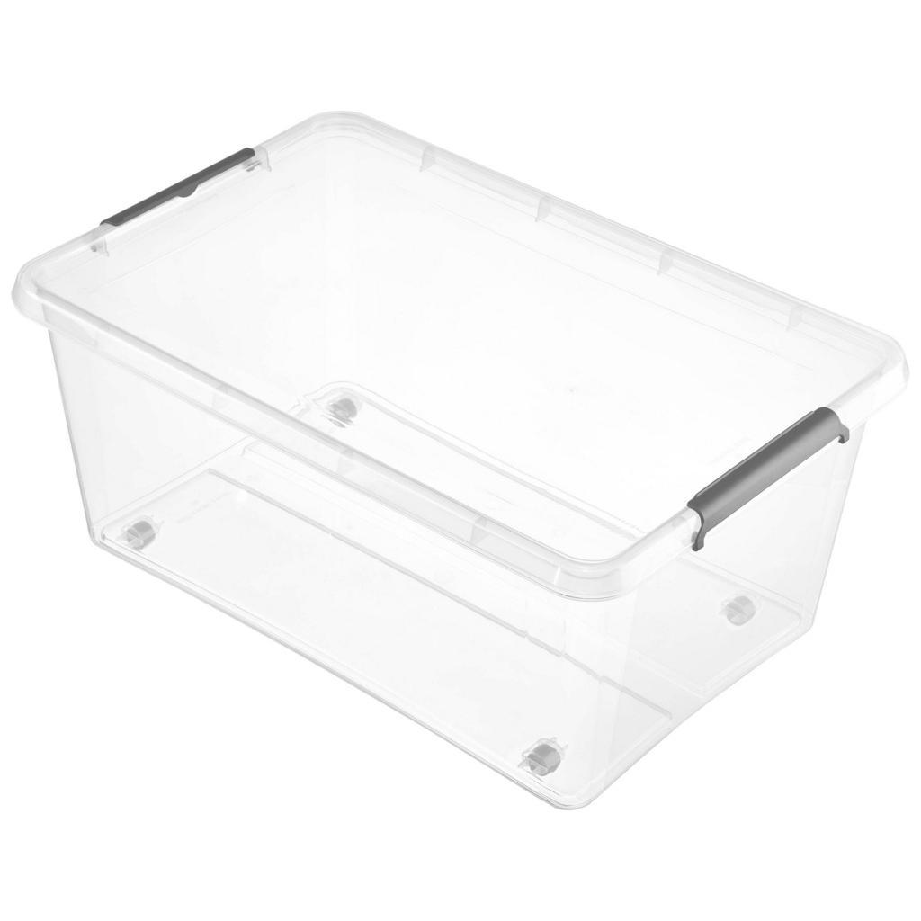 Image of Homeware Box mit deckel 58/39/25 cm , 1104200100000 , Transparent , Kunststoff , 1 Fächer , 39x25 cm , glänzend , Deckel, Rollen, rollbar, Deckel abnehmbar, Sichtfenster, stapelbar , 003556015502