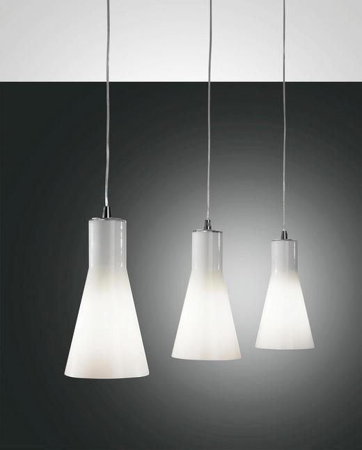 HÄNGELEUCHTE - Weiß, KONVENTIONELL, Glas/Metall (86/200cm)