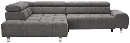 WOHNLANDSCHAFT Dunkelgrau  - Dunkelgrau/Silberfarben, Design, Textil/Metall (201/295cm) - Hom`in
