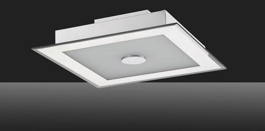 LED-DECKENLEUCHTE - Silberfarben/Weiß, Design, Glas/Metall (31/31/8cm)