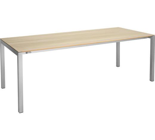 ESSTISCH in Holz, Metall 220/95/75 cm   - Eichefarben/Alufarben, Design, Holz/Metall (220/95/75cm)