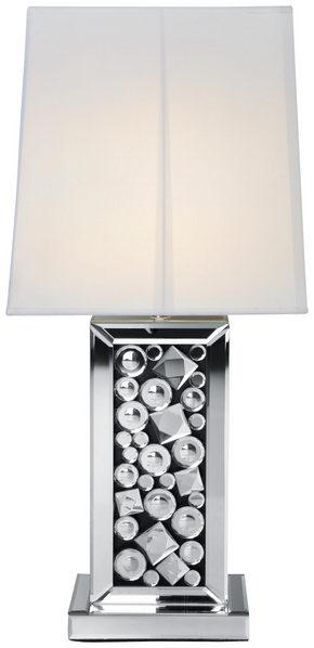BORDSLAMPA - vit/silver, Design, glas/textil (28/51/33cm) - Ambia Home