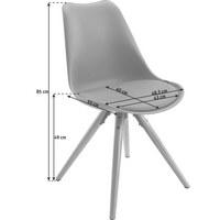STUHL Lederlook Grau, Naturfarben - Naturfarben/Grau, LIFESTYLE, Holz/Kunststoff (48,5/85/55cm) - Xora