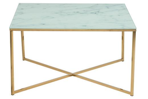 COUCHTISCH quadratisch Grau, Messingfarben, Weiß - Messingfarben/Weiß, Design, Glas/Metall (80/80/45cm) - Carryhome