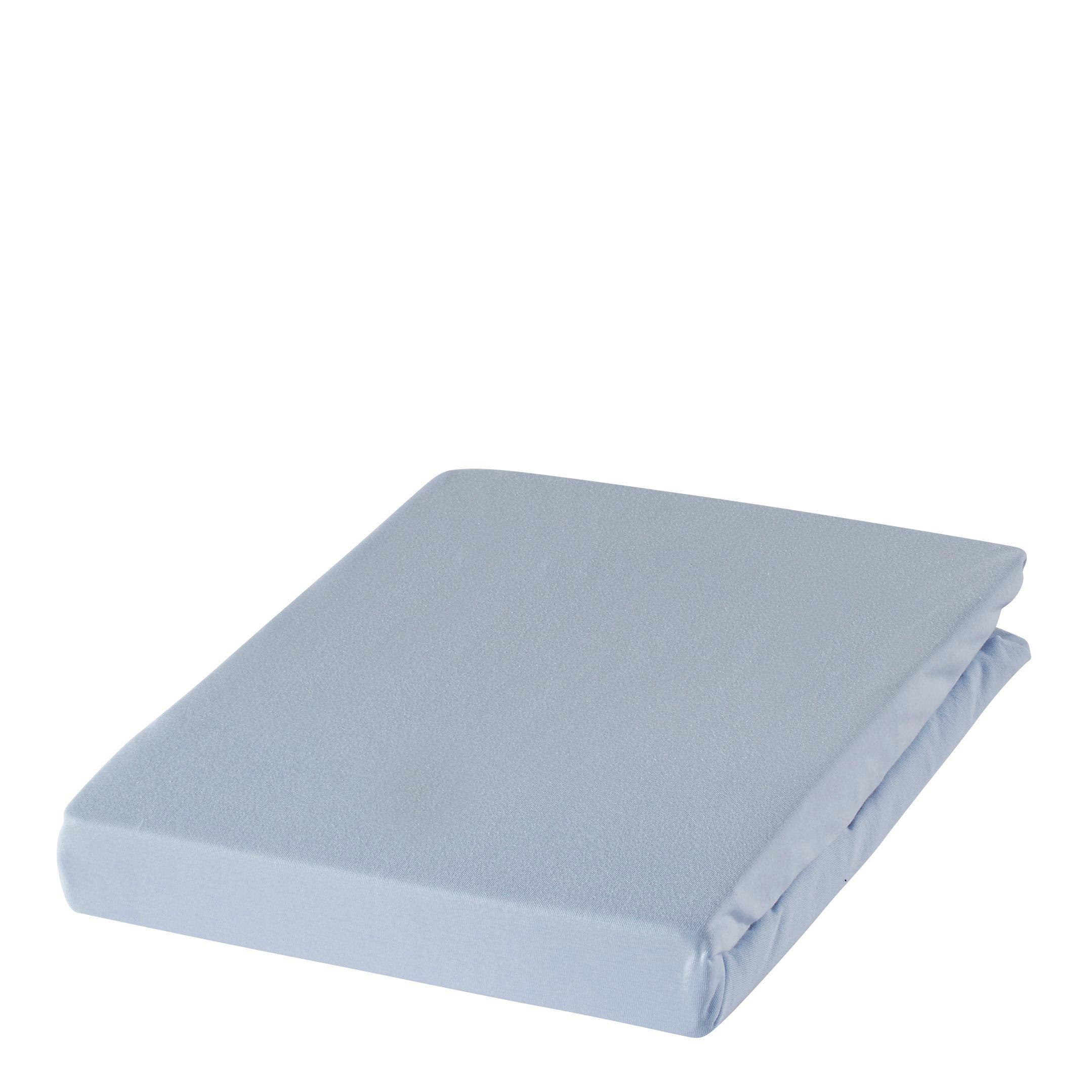 SPANNBETTTUCH Zwirn-Jersey Hellblau bügelfrei, für Wasserbetten geeignet - Hellblau, Basics, Textil (150/200cm) - ESTELLA