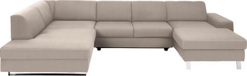 WOHNLANDSCHAFT Beige Webstoff  - Chromfarben/Beige, Design, Textil/Metall (198/350/157cm) - Venda