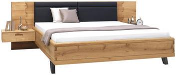 BETTANLAGE in Anthrazit, Eichefarben  - Eichefarben/Anthrazit, Design, Holz/Textil (180/200cm) - Valnatura