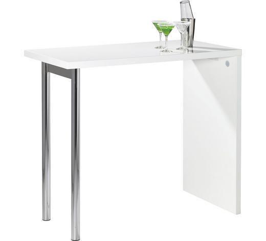 BARTISCH rechteckig Weiß, Chromfarben - Chromfarben/Weiß, KONVENTIONELL, Metall (120/60/105cm) - Carryhome