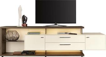 KOMODA LOWBOARD, bílá, šedá - bílá/šedá, Design, kov/dřevo (261,3/76,2/55,7cm) - MODERANO
