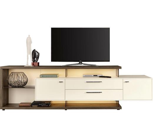 KOMODA LOWBOARD, šedá, bílá - bílá/šedá, Design, kov/dřevo (261,3/76,2/55,7cm) - Moderano