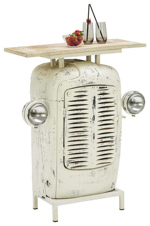 BAR Mangoholz massiv lackiert, matt Naturfarben, Weiß - Naturfarben/Weiß, Trend, Holz/Metall (80/100/35cm) - Ambia Home