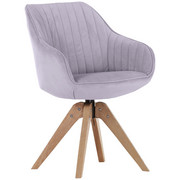 STUHL in Textil Hellgrau - Eichefarben/Hellgrau, Design, Holz/Textil (60/83/65cm) - Hom`in