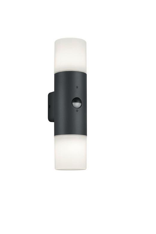 AUßENWANDLEUCHTE Anthrazit, Weiß - Anthrazit/Weiß, Natur, Kunststoff/Metall (33/8,5/11,8cm)