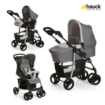 SET OTROŠKI VOZIČEK SHOPPER - črna/siva, Basics, kovina/tekstil (84/52/107cm) - Hauck