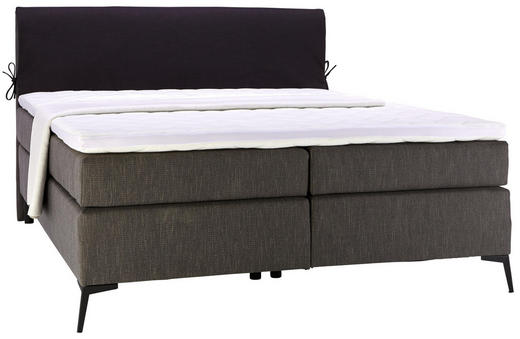 BOXSPRINGBETT 200/200 cm  in Anthrazit, Schwarz - Anthrazit/Schwarz, Design, Textil/Metall (200/200cm) - Hom`in