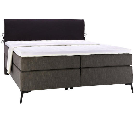 BOXSPRINGBETT 180/200 cm  in Anthrazit, Schwarz  - Anthrazit/Schwarz, Design, Textil/Metall (180/200cm) - Hom`in