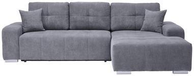 WOHNLANDSCHAFT in Textil Blau, Grau  - Blau/Silberfarben, MODERN, Kunststoff/Textil (280/194cm) - Carryhome