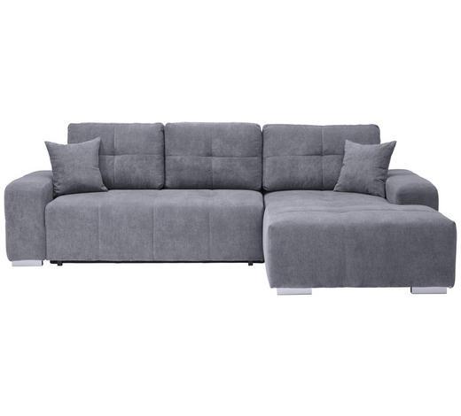 WOHNLANDSCHAFT in Textil Grau - Silberfarben/Grau, MODERN, Kunststoff/Textil (280/194cm) - Carryhome