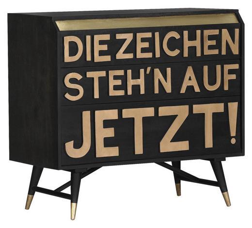 SIDEBOARD Mangoholz massiv lackiert, gebeizt Schwarz, Messingfarben  - Messingfarben/Schwarz, Trend, Holz/Metall (95/87/45cm) - Carryhome