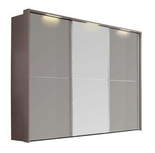 SCHWEBETÜRENSCHRANK 3-türig Braun - Braun, Design, Glas/Metall (300/223/69cm) - Dieter Knoll