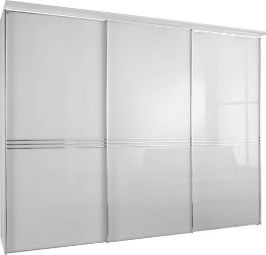 SCHWEBETÜRENSCHRANK in Weiß - Chromfarben/Weiß, Design, Glas/Holzwerkstoff (249/222/68cm) - Moderano