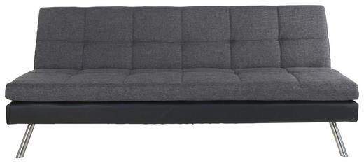 SCHLAFSOFA Flachgewebe, Lederlook Dunkelgrau, Schwarz - Dunkelgrau/Silberfarben, Design, Holz/Textil (190/80/93cm) - Carryhome