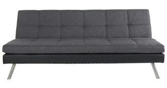 ZOFA S POSTELJNO FUNKCIJO,  črna, temno siva les, kovina, tekstil, leseni material  - temno siva/črna, Design, kovina/tekstil (190/80/93cm) - Carryhome