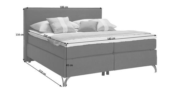 BOXSPRINGBETT 180/200 cm  in Anthrazit  - Anthrazit/Kupferfarben, KONVENTIONELL, Textil/Metall (180/200cm) - Esposa