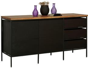 SIDEBOARD - svart/akaciefärgad, Trend, metall/trä (147/76/45cm) - Ambia Home
