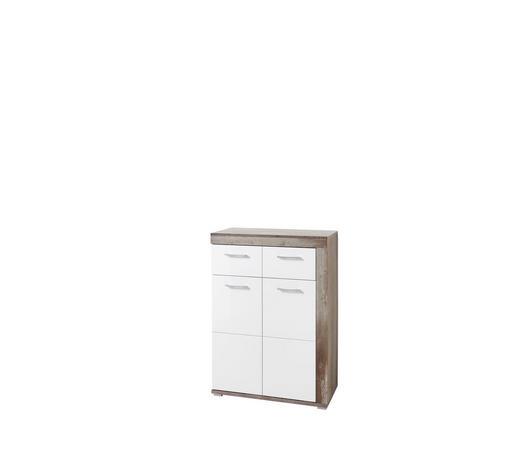 SCHUHSCHRANK 77/107/38 cm - Chromfarben/Weiß, LIFESTYLE, Holzwerkstoff/Metall (77/107/38cm) - Hom`in