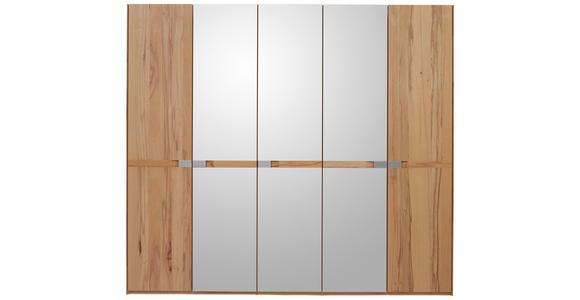 DREHTÜRENSCHRANK 5-türig Buche massiv Buchefarben  - Chromfarben/Buchefarben, KONVENTIONELL, Glas/Holz (249,6/223/57cm) - Valnatura