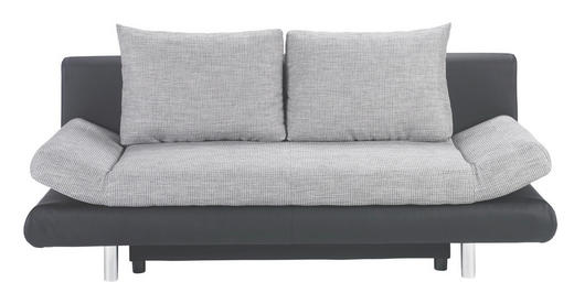 SCHLAFSOFA in Grau, Schwarz Textil - Chromfarben/Schwarz, Design, Kunststoff/Textil (194/73/91cm) - CARRYHOME