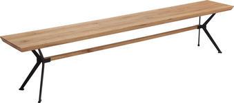 SITZBANK 220/45/35 cm  in Eichefarben, Schwarz - Eichefarben/Schwarz, Natur, Holz/Metall (220/45/35cm) - Linea Natura