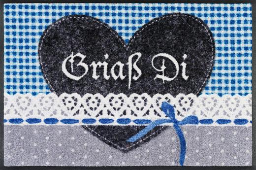 FUßMATTE 50/75 cm Texte Blau, Grau - Blau/Grau, Basics, Kunststoff/Textil (50/75cm) - Esposa